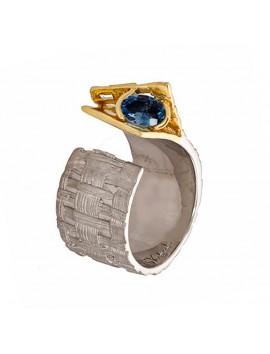 K100016 duży pierścionek z szafirem