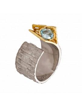 K100016 German Kabirski pierścionek z topazem
