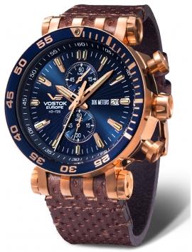 zegarek męski sportowy VOSTOK EUROPE Energia VK61-575B590 na pasku skórzanym
