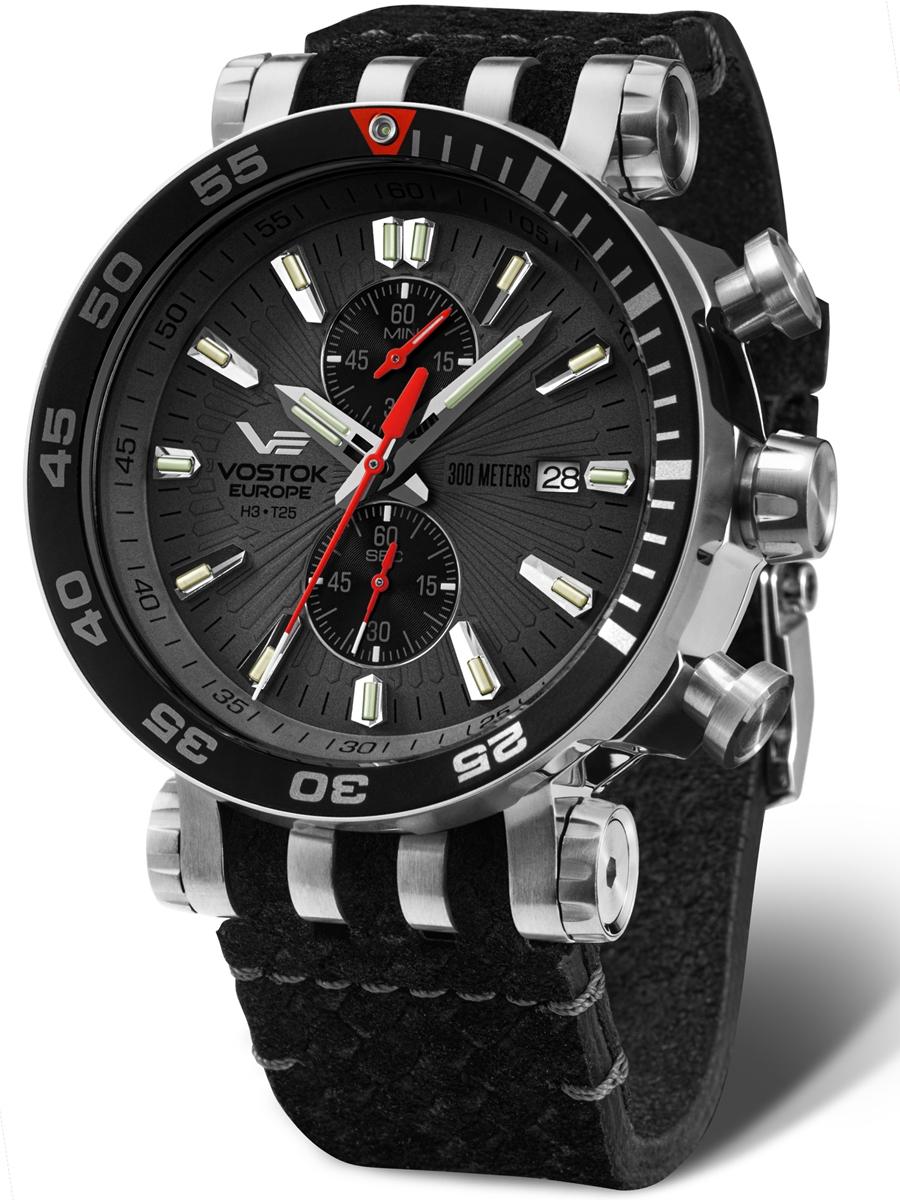 zegarek męski sportowy VOSTOK EUROPE Energia VK61-575A588 na pasku skórzanym