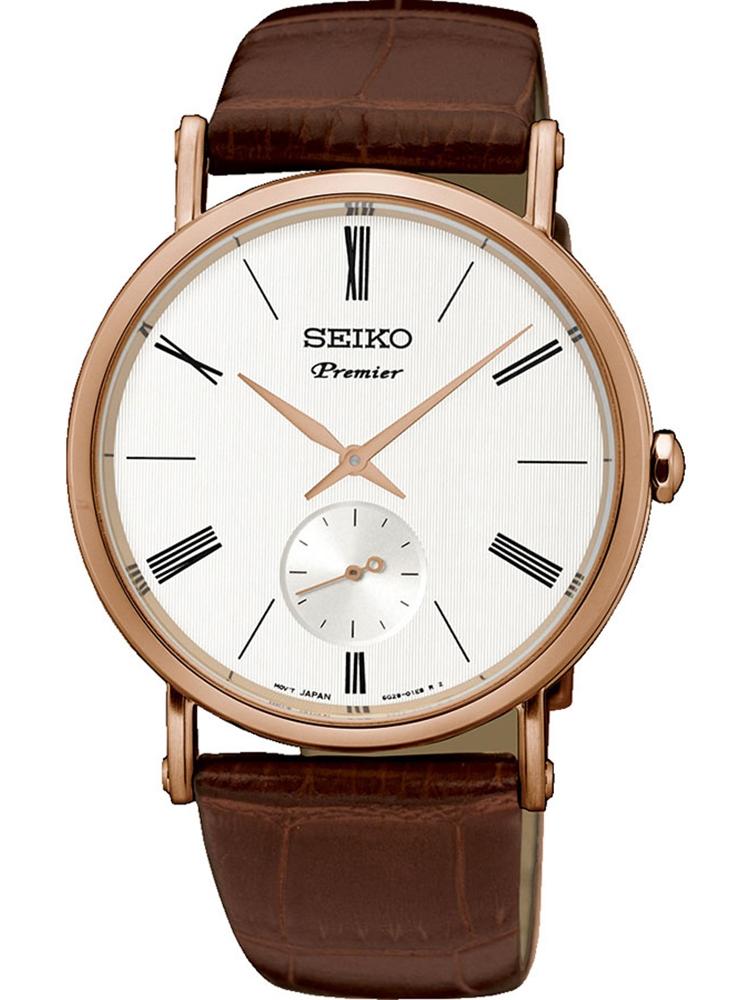 zegarek na pasku skórzanym Seiko Premier SRK038P1