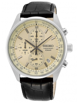 Męski zegarek na pasku skórzanym Seiko SSB383P1