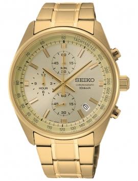złoty męski zegarek Seiko Chronograph SSB382P1