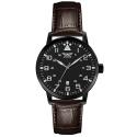 zegarek z czarną kopertą na skórzanym pasku