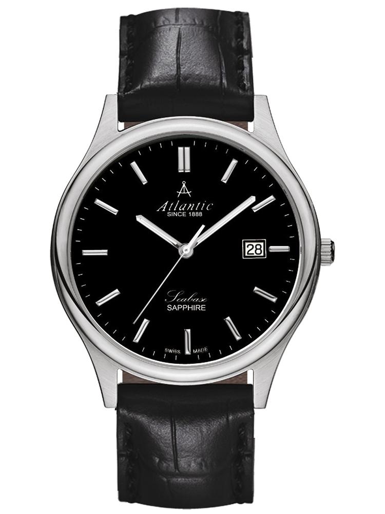 zegarek męski na pasku skórzanym ATLANTIC Seabase 60342.41.61