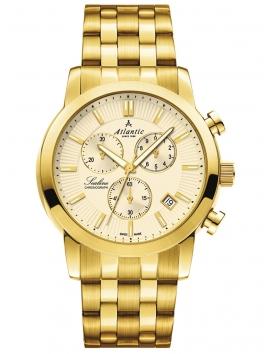 złoty zegarek męski na bransolecie ATLANTIC Sealine 62455.45.31