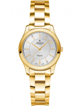 złoty zegarek damski na bransolecie ATLANTIC Seapair 20335.45.21
