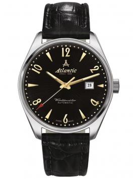 czarny zegarek na pasku ATLANTIC Worldmaster 51752.41.65G