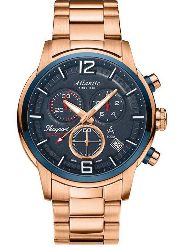 87466.44.55 ATLANTIC Seasport męski zegarek na bransolecie różowe złoto