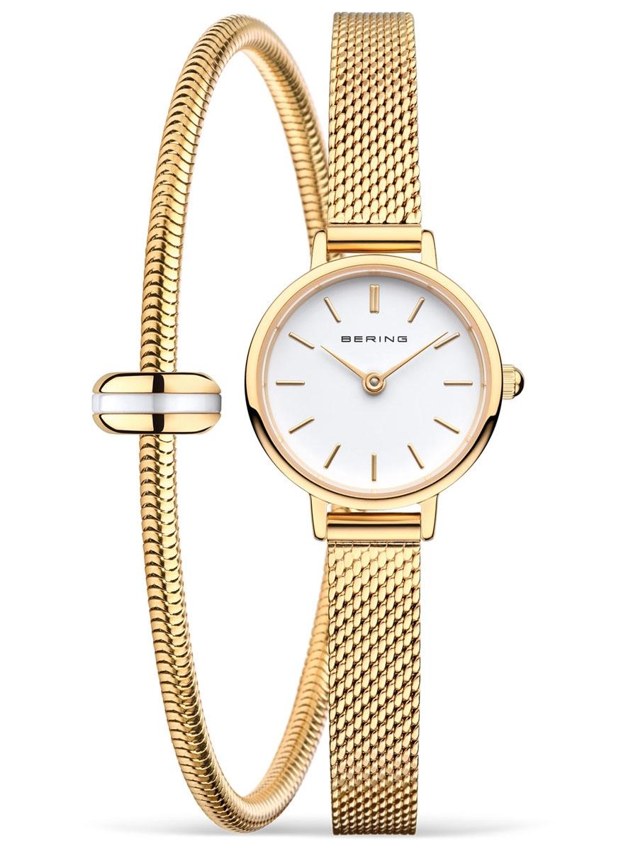 11022-334-SET BERING Classic złoty zegarek na bransoletce