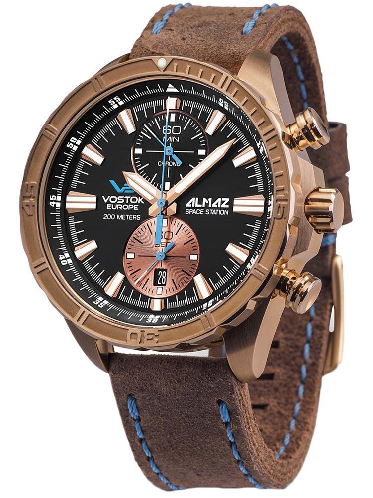 6S11-320O266 VOSTOK EUROPE Almaz Chrono męski zegarek z brązu
