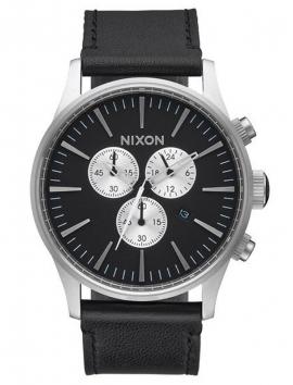 A405_1000 zegarek NIXON Sentry Chrono Leather Black