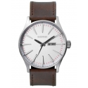 A105_2113 NIXON Sentry Leather Silver Brown