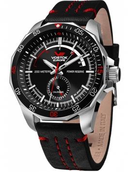 Zegarek męski na pasku skórzanym Vostok Europe NE57-225A563