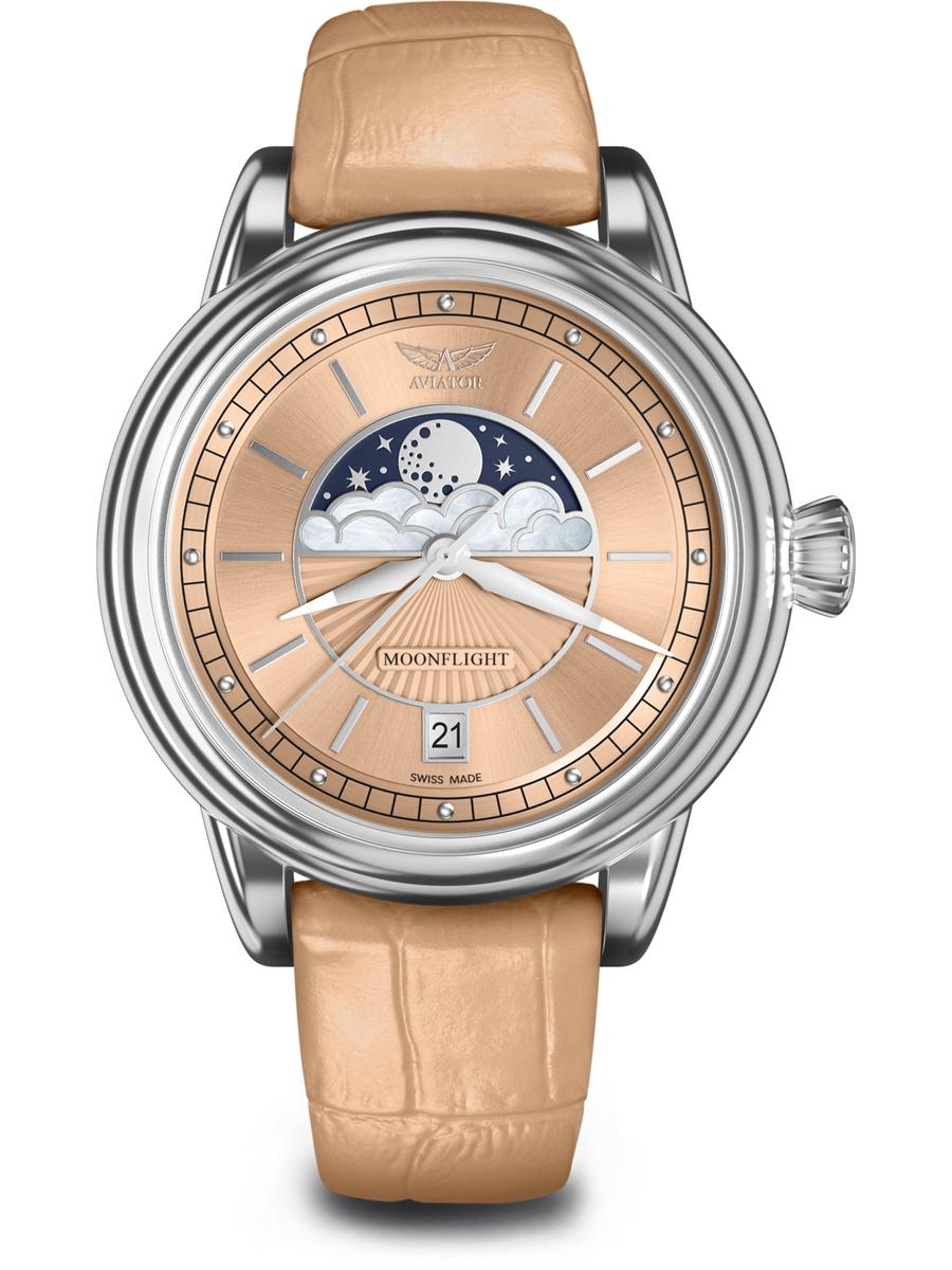 V.1.33.0.259.4 AVIATOR Swiss Made Moon Flight damski zegarek na pasku skórzanym