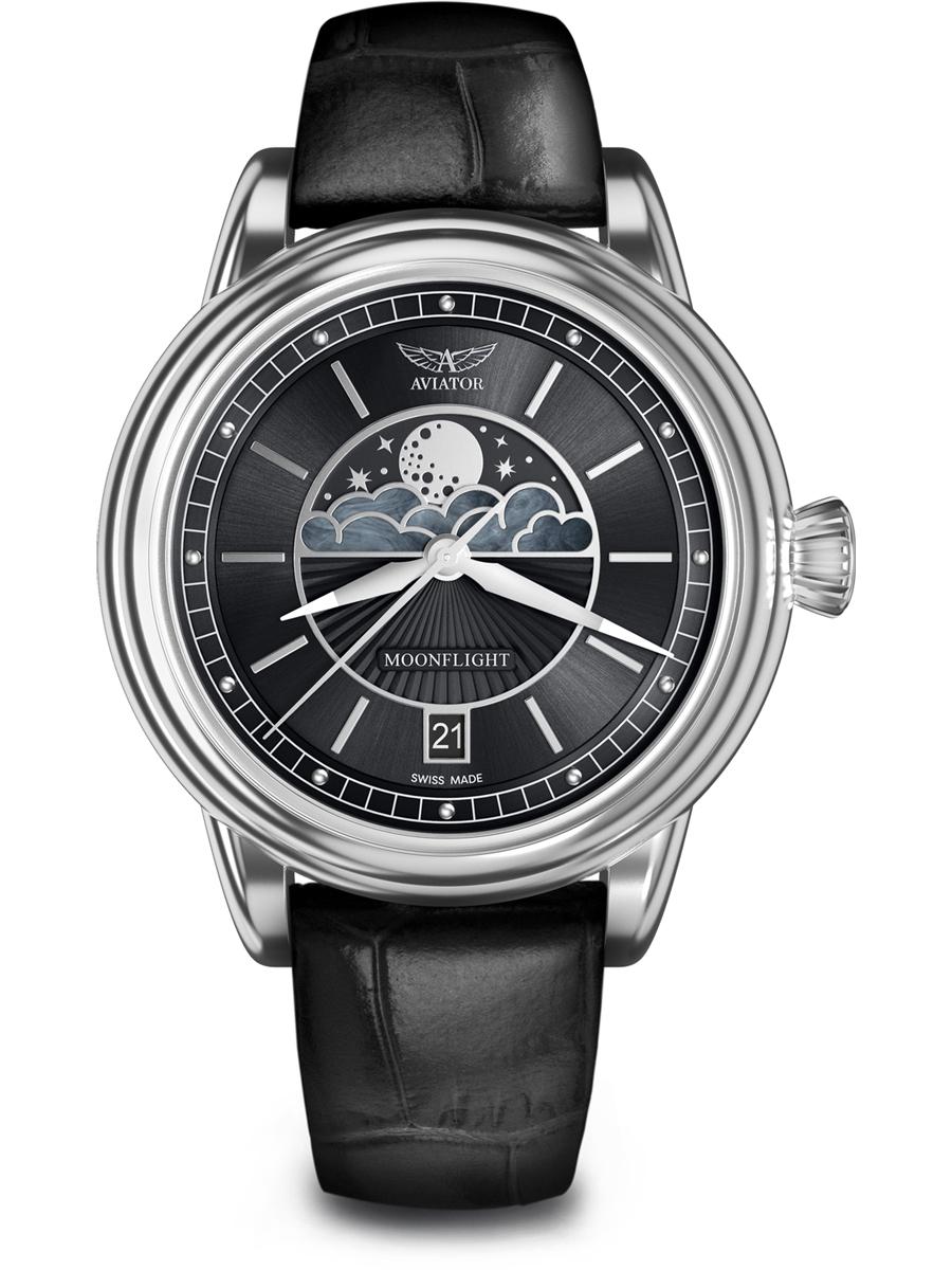 V.1.33.0.252.4 AVIATOR Swiss Made Moon Flight V.1.33.0.252.4 damski zegarek na pasku skórzanym