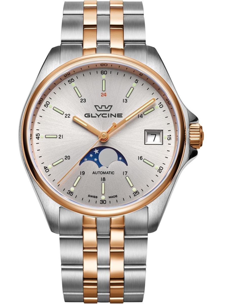 GL0194 GLYCINE Combat 6 Classic Moonphase męski zegarek na bransolecie
