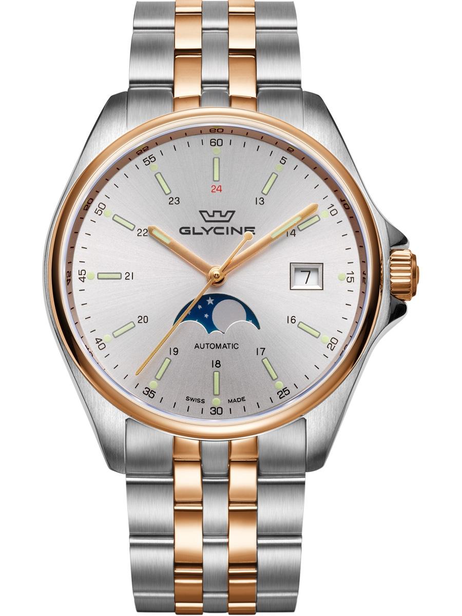 GL0192 GLYCINE Combat 6 Classic Moonphase męski zegarek na bransolecie